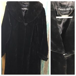 Pamela McCoy Vintage Faux Fur Long Black Coat 1X